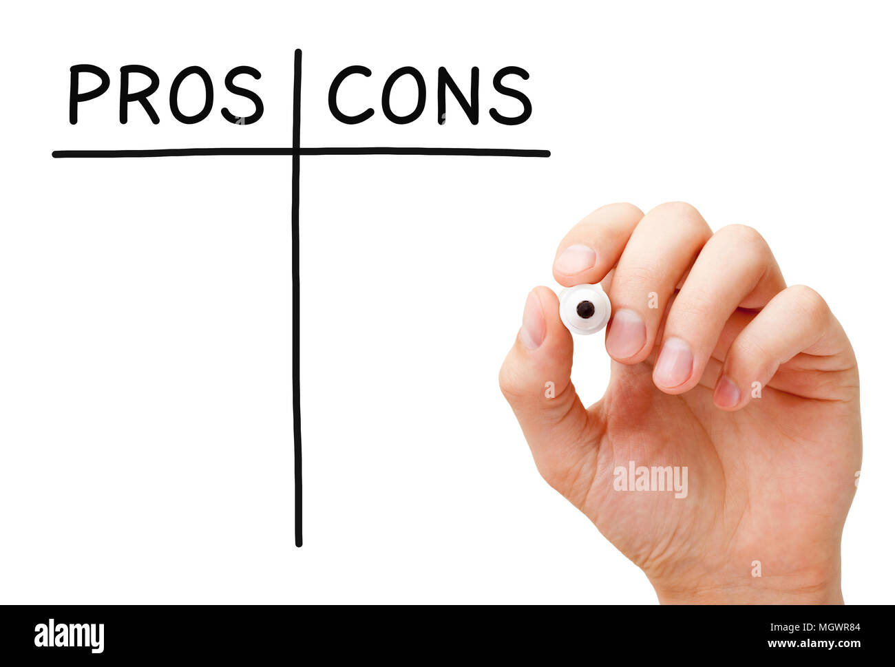 Hand writing Pros and Cons list with black marker on transparent wipe board isolated on white. - Stock Image