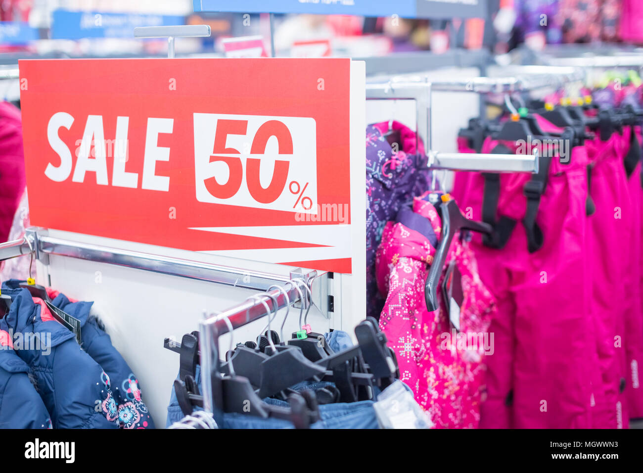 f1162f75f6 Sale sign in winter clothes shop.shopping and discount concept ...