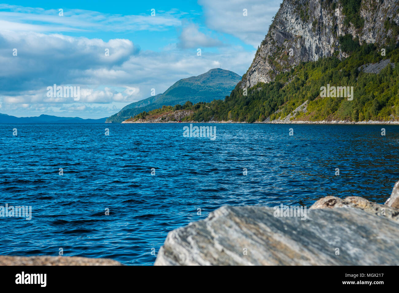 Fjord with mountains landscape (volda, norway) - Stock Image