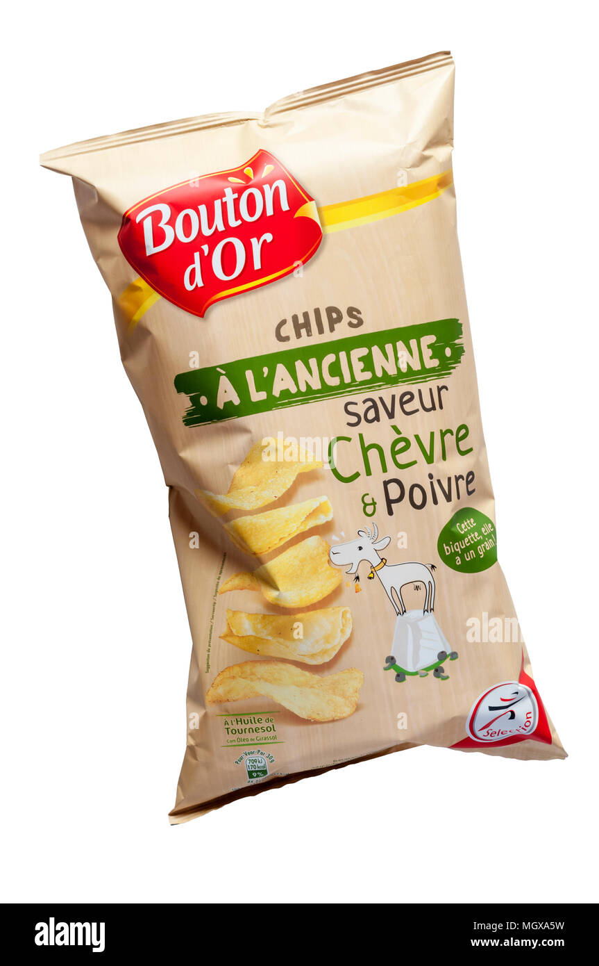 A packet of French Chevre & Poivre or Goats' Cheese & Pepper flavoured crisps. - Stock Image
