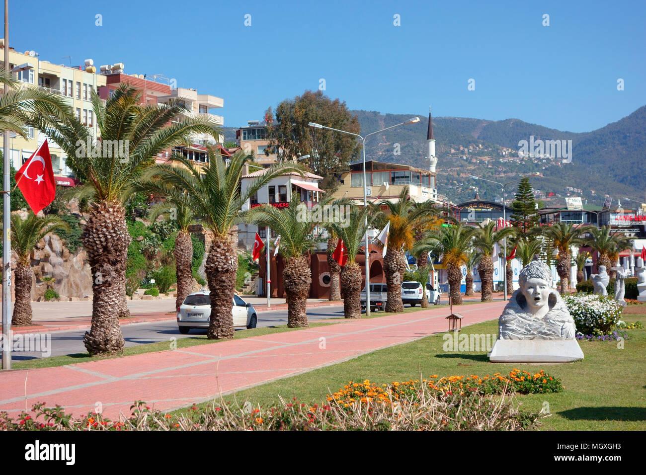 Alanya Promenade, Alanya, Mediterannean, Turkey - Stock Image