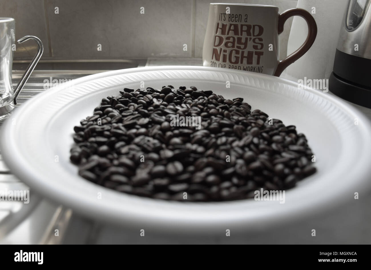 Coffee beans and a mug Stock Photo