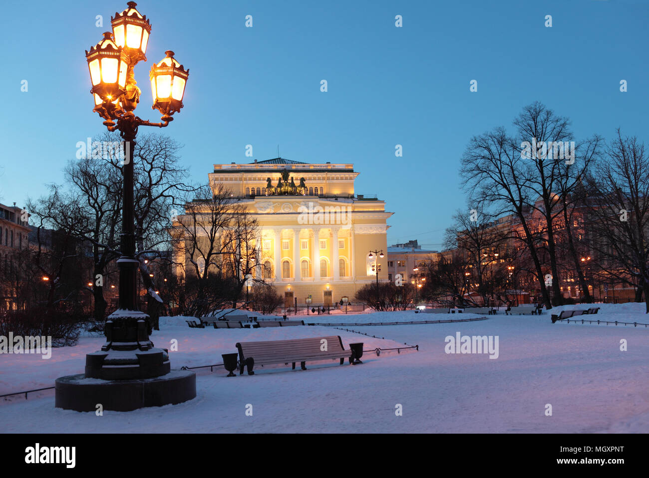Alexandrinsky Theatre, or Russian State Pushkin Academy Drama Theater in St. Petersburg, Russia, in a winter morning - Stock Image