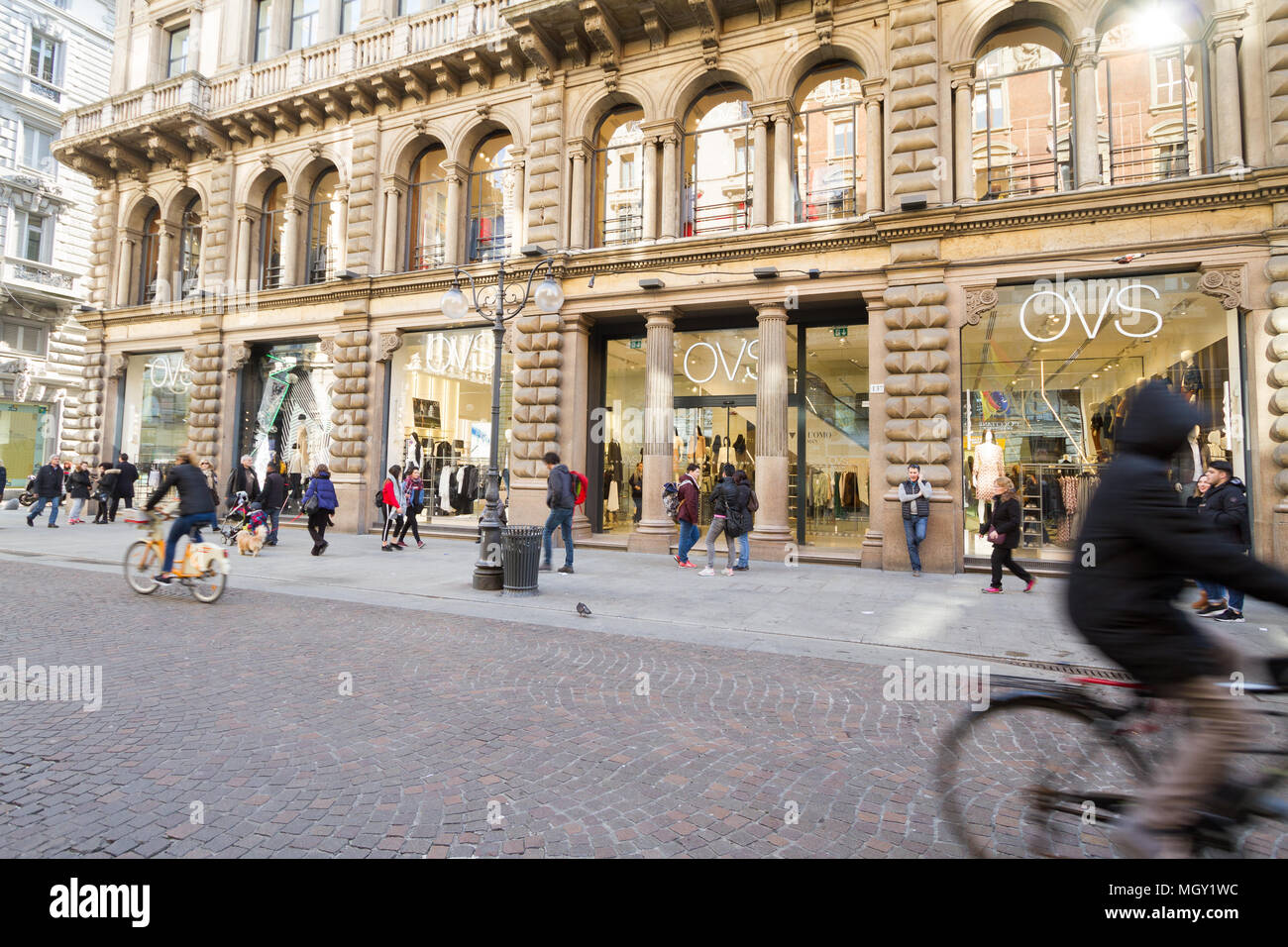 Milan, March 2018: Shop window of Dolce & Gabbana in Shopping Street Via Della Spiga, in the fashion and design capital of the world, on March 2018 in - Stock Image