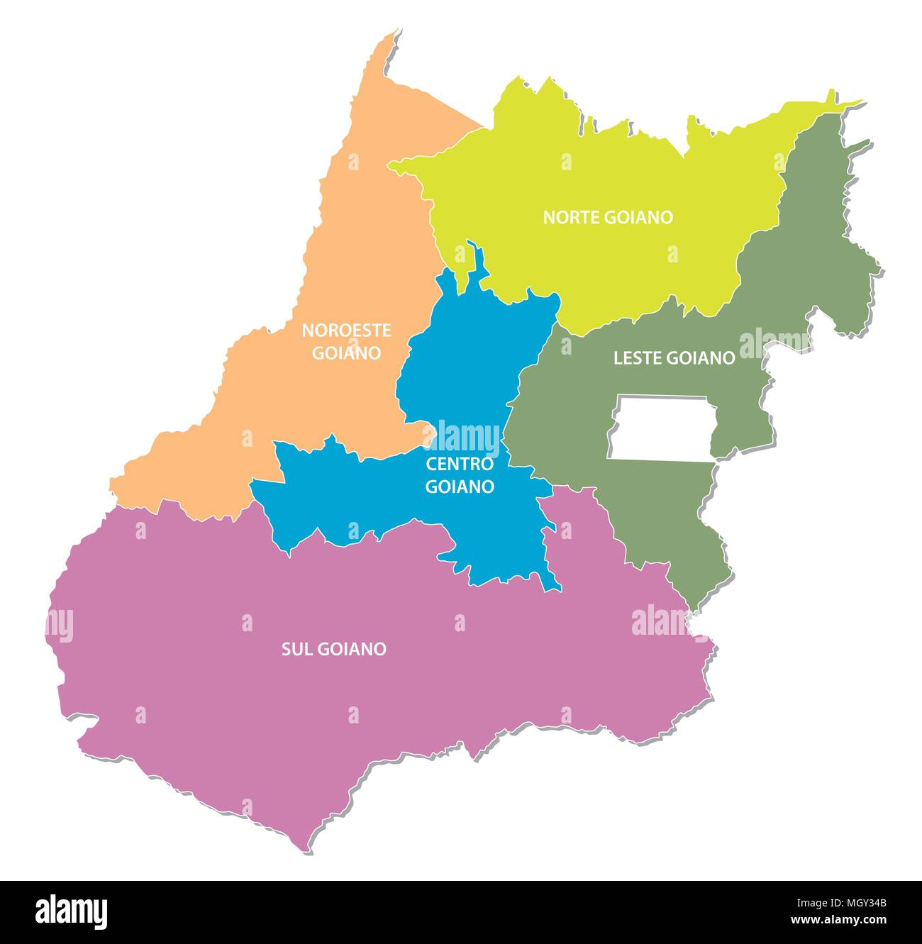goias colorful administrative and political vector map, brazil - Stock Image