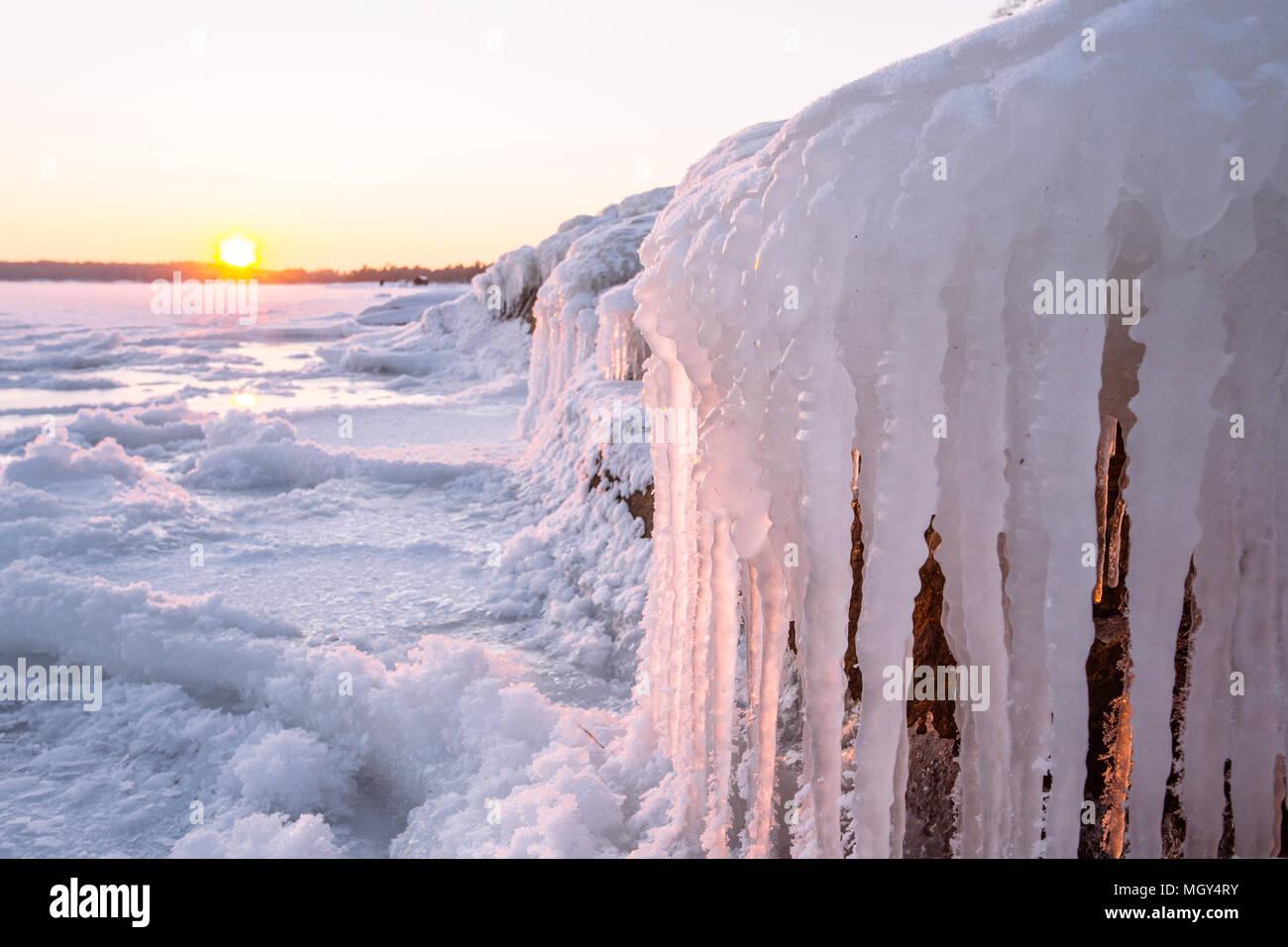 Frozen Baltic sea from Koirien uimaranta,Toppelunde,Espoo,Finland,Europe - Stock Image