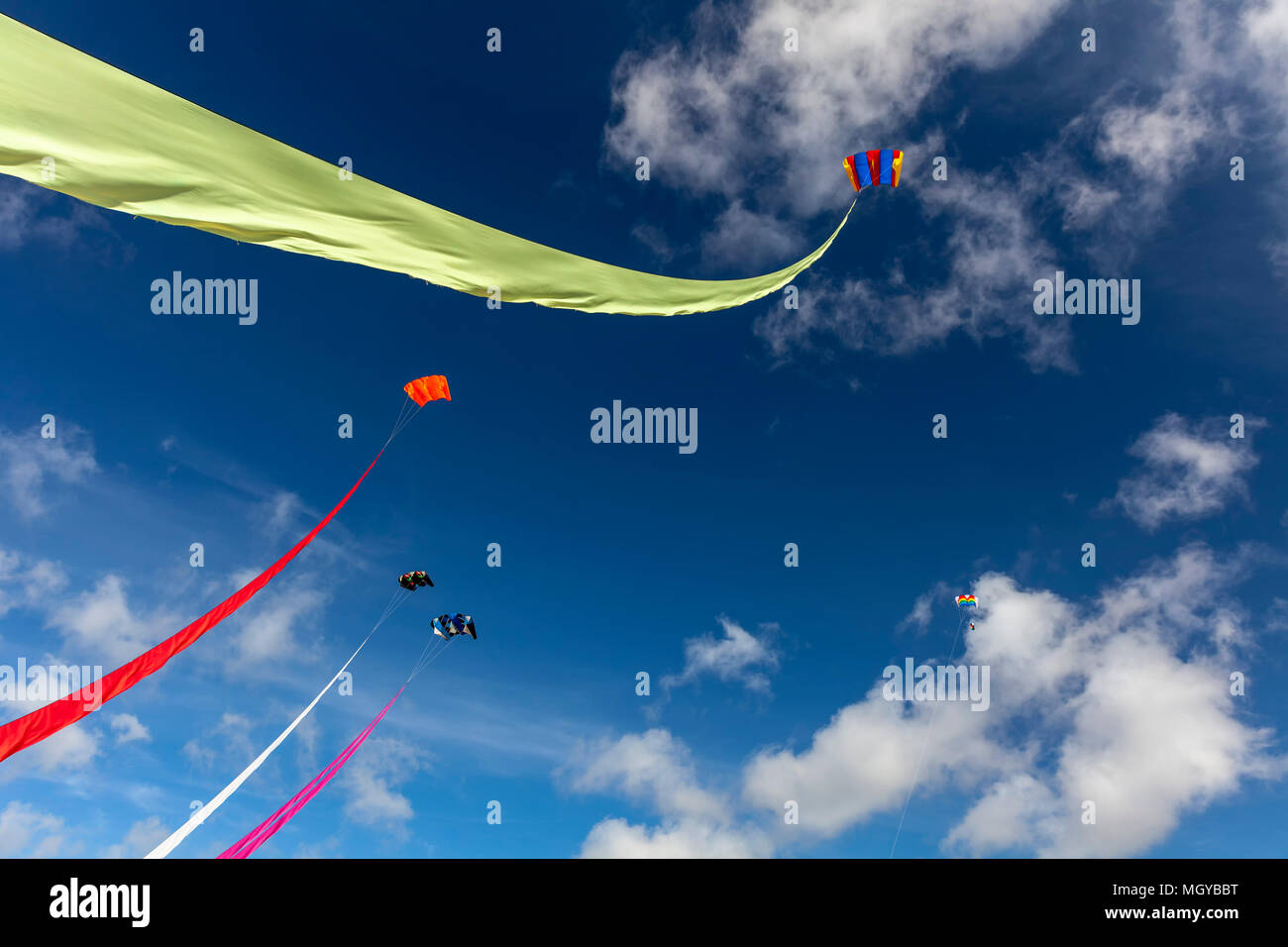 5 Kites flying high in a blue summer's day sky - Stock Image