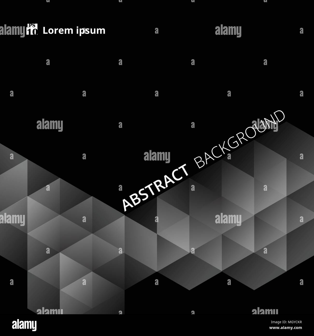 Abstract black background of geometrical slide presentation. Illustration vector eps10 - Stock Image