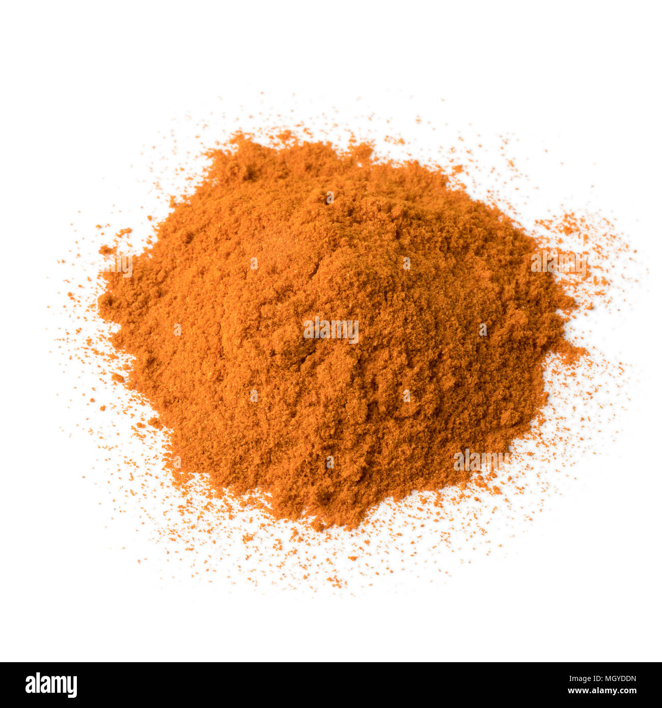 Heap of Cayenne pepper isolated on white background - Stock Image