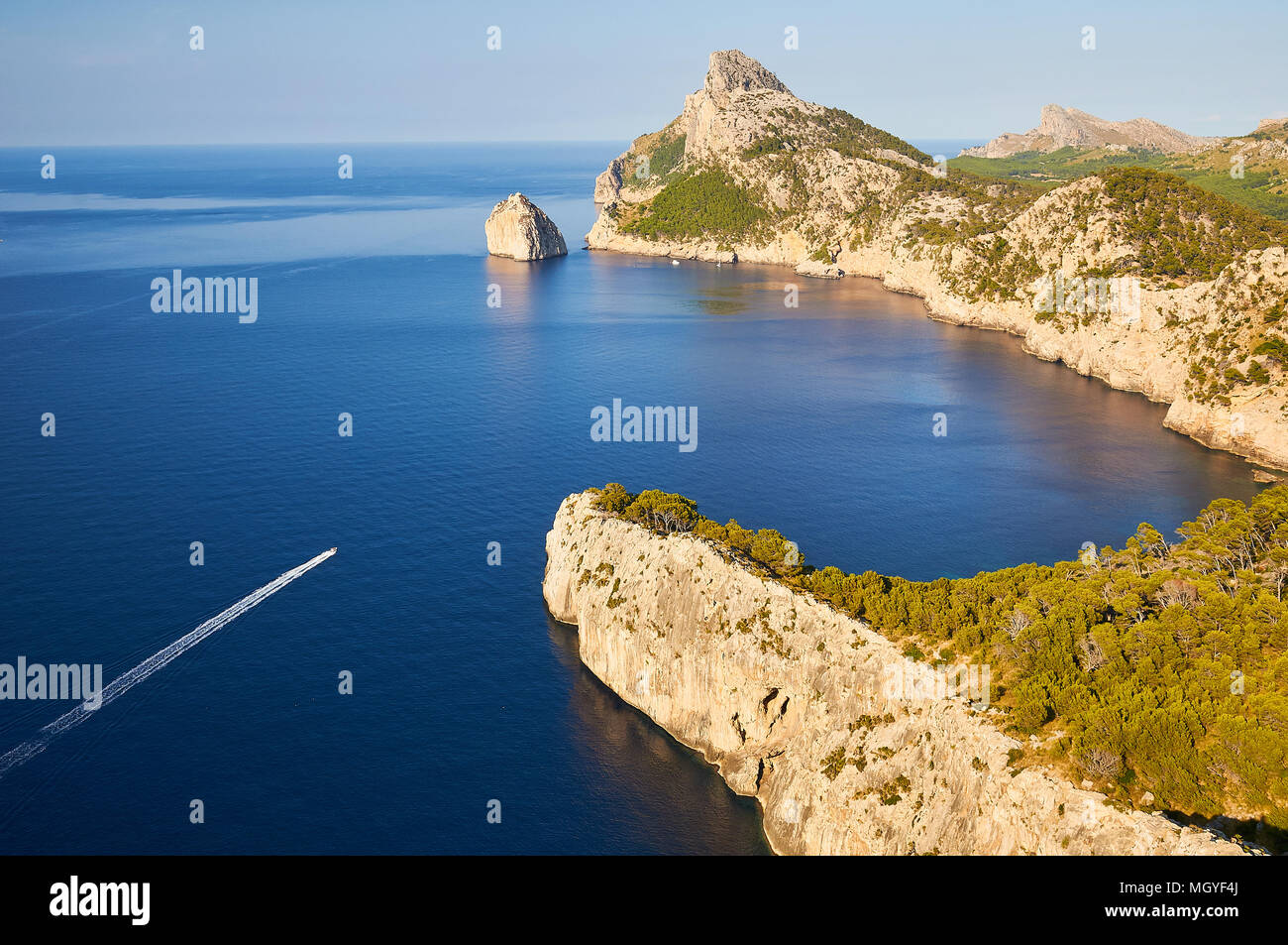 Panoramic view from Es Colomer overlook showing Es Colomer island and Punta Nau at Serra de Tramontana in Pollenca (Majorca, Balearic Islands, Spain) - Stock Image
