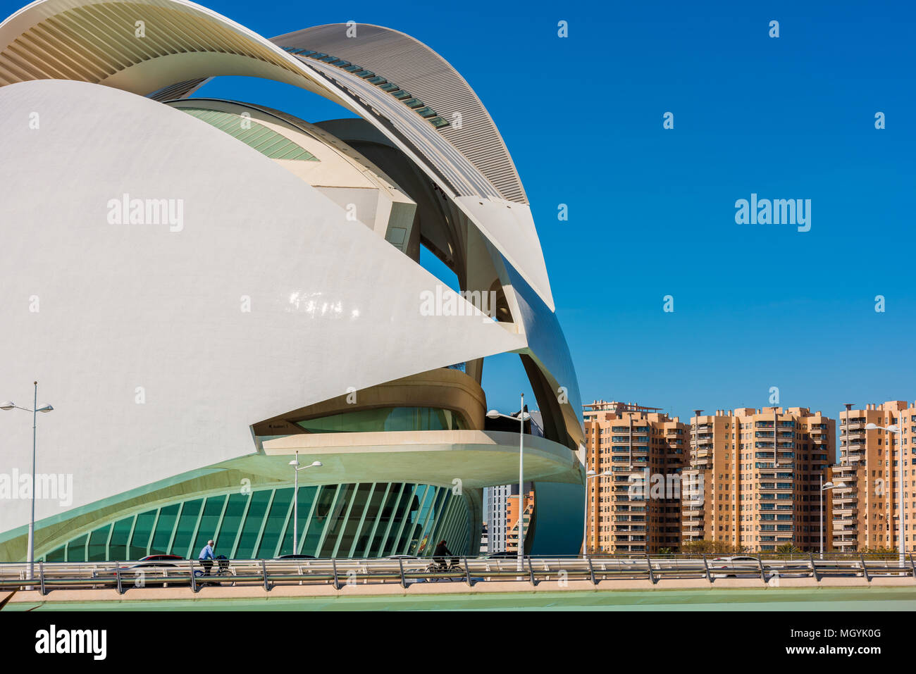 Queen Sofia Palace of the Arts Opera House in Valencia, Spain. It is part of the City of Arts and Sciences complex. - Stock Image