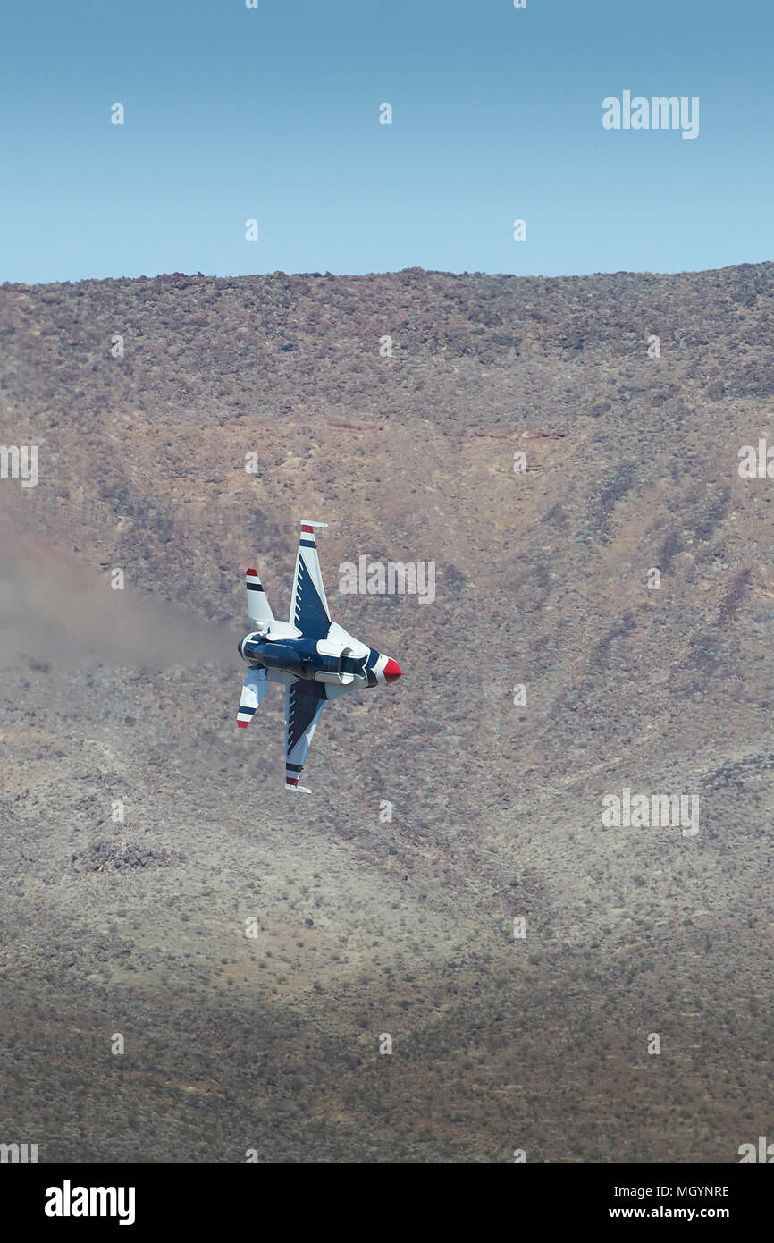 Twin Seat United States Air Force Lockheed Martin F-16D Fighting Falcon From The USAF 'Thunderbirds' Flying Through Rainbow Canyon, California. - Stock Image