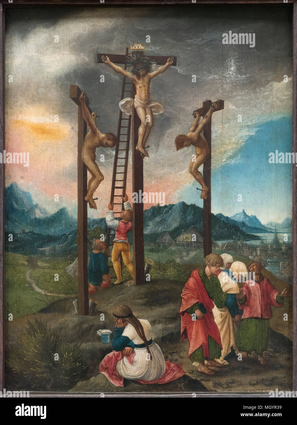 Albrecht Altdorfer (ca. 1480-1538), Crucifixion / Christ on the Cross Between the Two Thieves, ca 1526. Christus am Kreuz zwischen den Schächern. - Stock Image