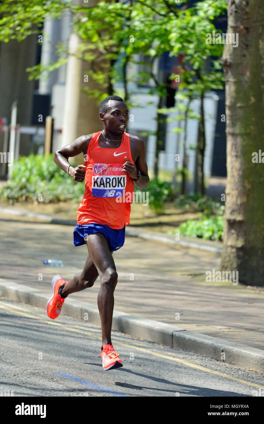 Bedan Karoki, Kenyan elite men's competitor, 2018 Virgin Money London Marathon, London, United Kingdom - Stock Image