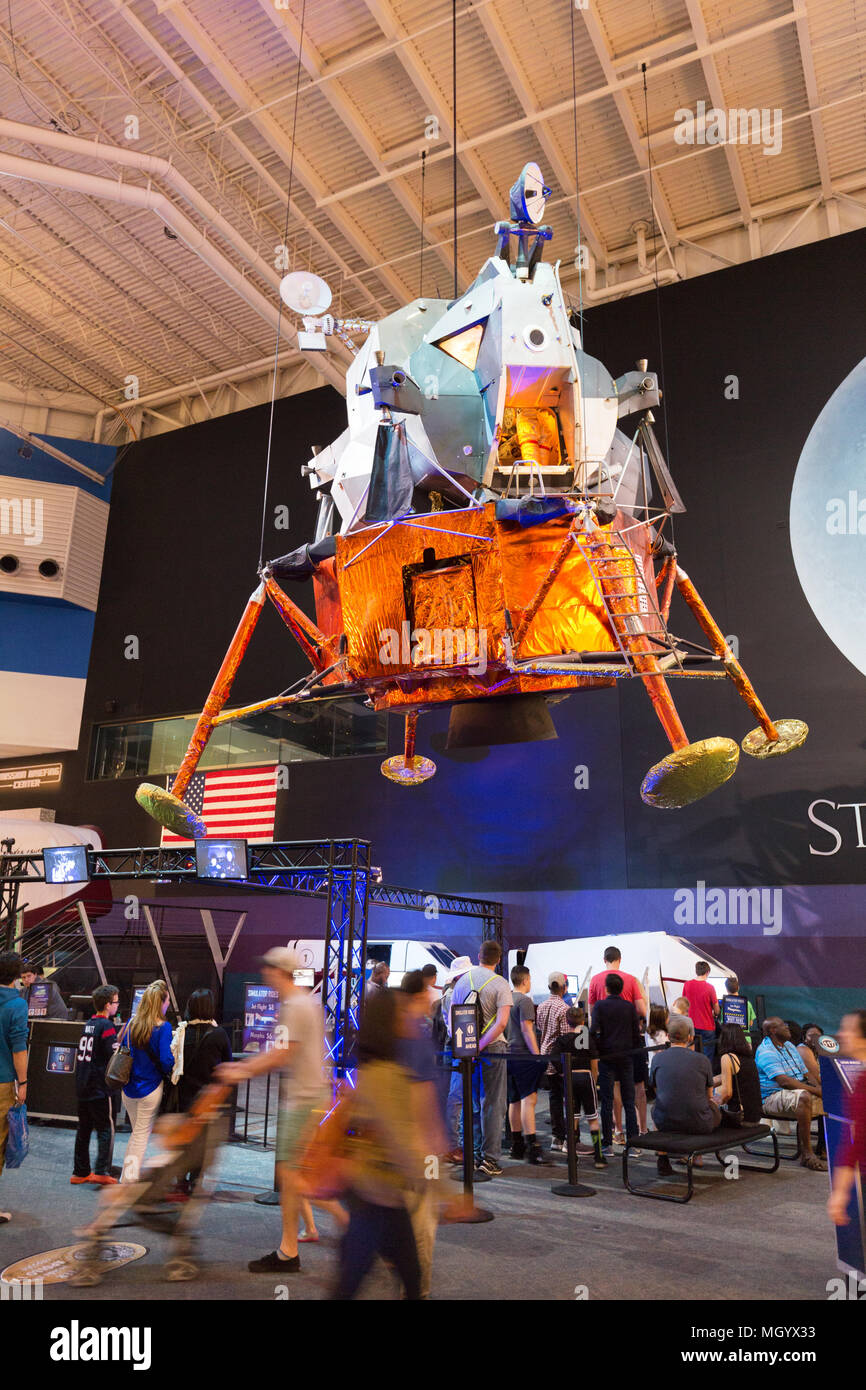 Space Centre Houston - visitors looking at the Apollo Lunar Landing Module at the Johnson Space Centre, Houston, Texas USA - Stock Image