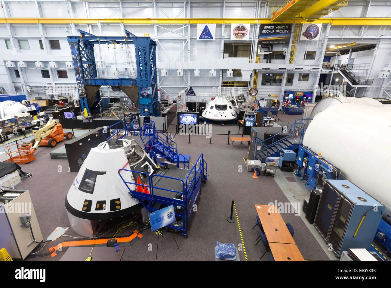 The Space Vehicle Mockup Facility for astronaut training at NASA Johnson Space Center, Houston Texas USA - Stock Image