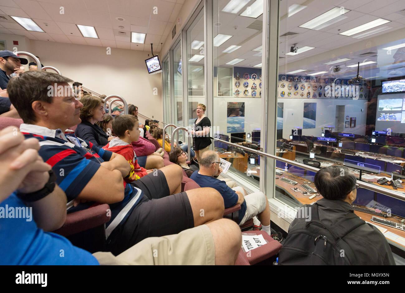 Visitors on a tour of Mission Control Center, NASA Johnson Space Center, Houston, Texas USA - Stock Image