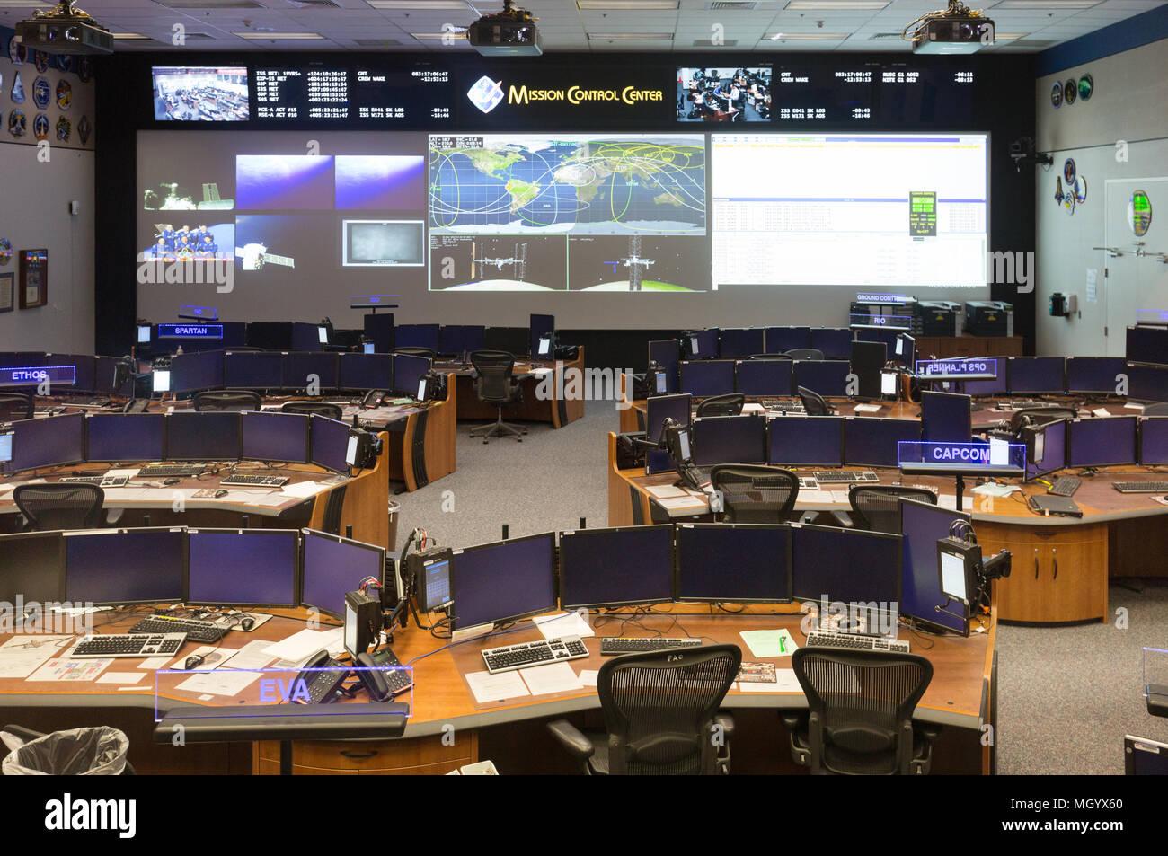 Mission Control Center, NASA Johnson Space Center, Houston, Texas USA - Stock Image