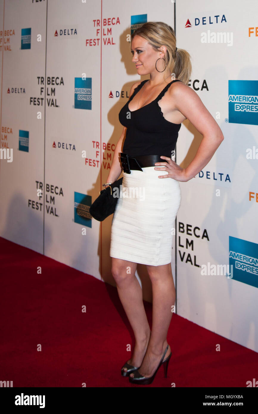 NEW YORK - APRIL 23: Actress Hilary Duff attends the 8th Annual Tribeca Film Festival 'Stay Cool' premiere at BMCC Tribeca PAC - Stock Image