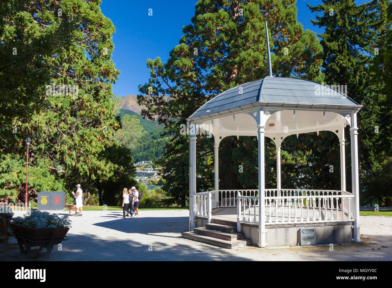 Ornamental bandstand in Queenstown gardens in downdown queenstown otago South Island New Zealand - Stock Image