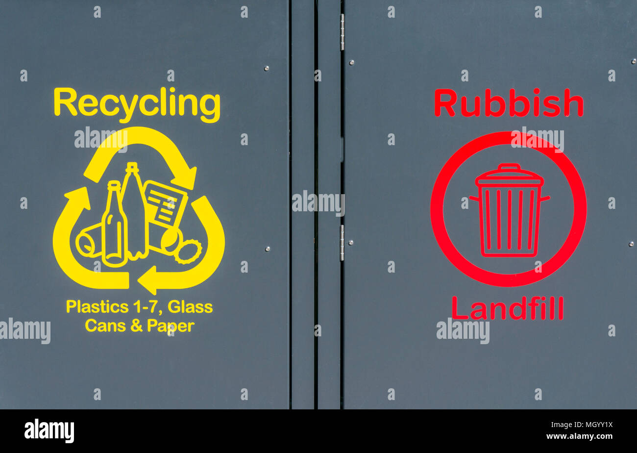 recycling bins for plastic recycling plastic glass recycling glass cans recycling cans paper recycling paper rubbish landfill recycling bin trash can - Stock Image