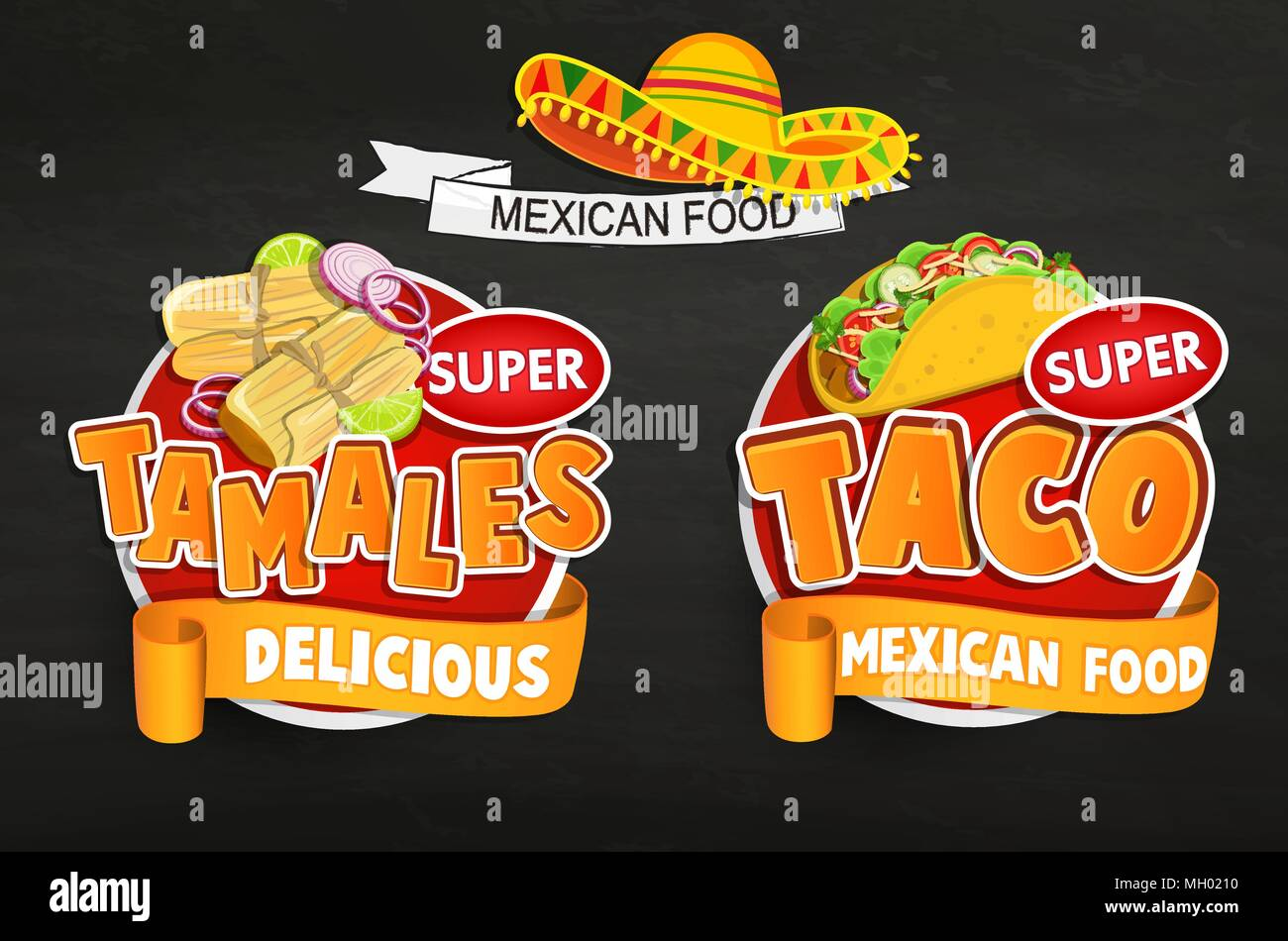 Set of traditional Mexican food logo, emblems, food label or