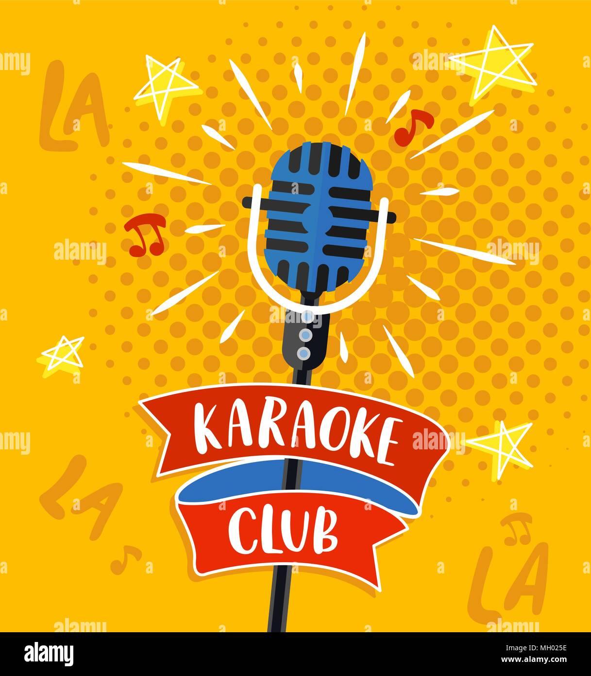 Karaoke club symbol, logo or emblem with lettering. Vector illustration. - Stock Image