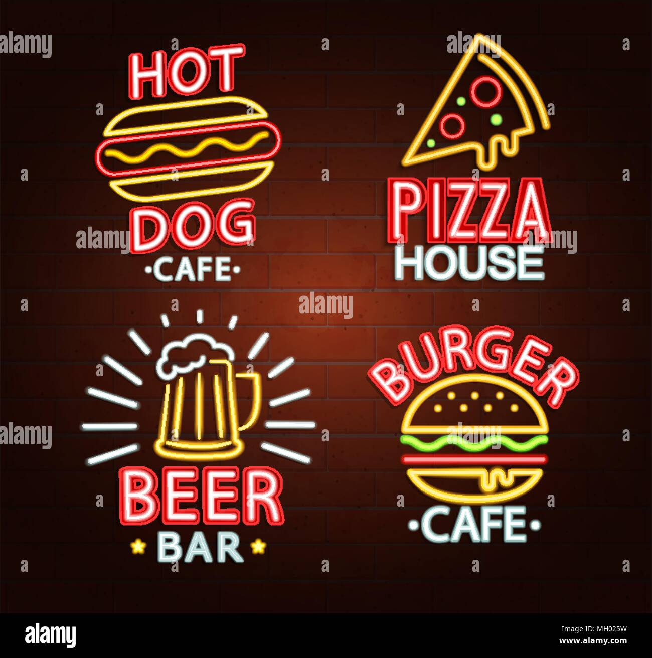 Set Of Neon Signs Of Beer Bar Hot Dog Cafe Pizza House Burger Cafe Bright Signboard Light Banner Neons Logos Emblems And Symbols Vector Stock Vector Image Art Alamy