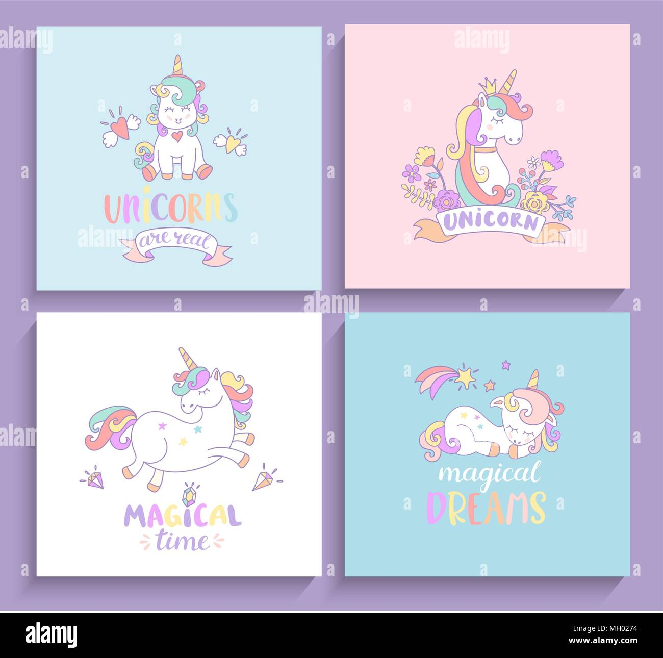 Set Of Magical Unicorns Greeting Cards With Lettering Vector