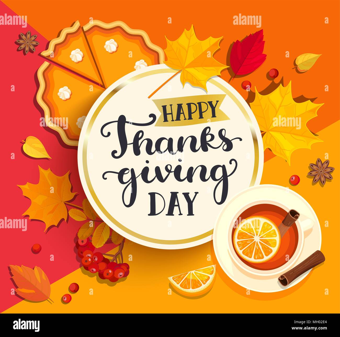 Happy Thanksgiving day lettering in gold circle frame on geometric background with pupmkin pie, hot tea and autumn leaves. Vector illustration. - Stock Vector