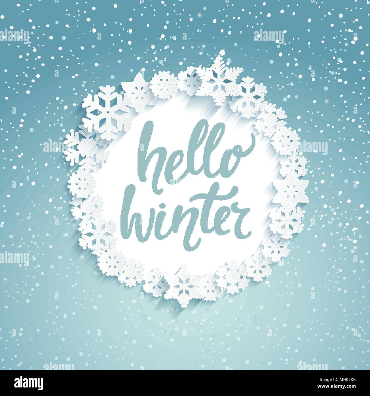 Hello Winter Greeting Card With Lettering Snowfall Background