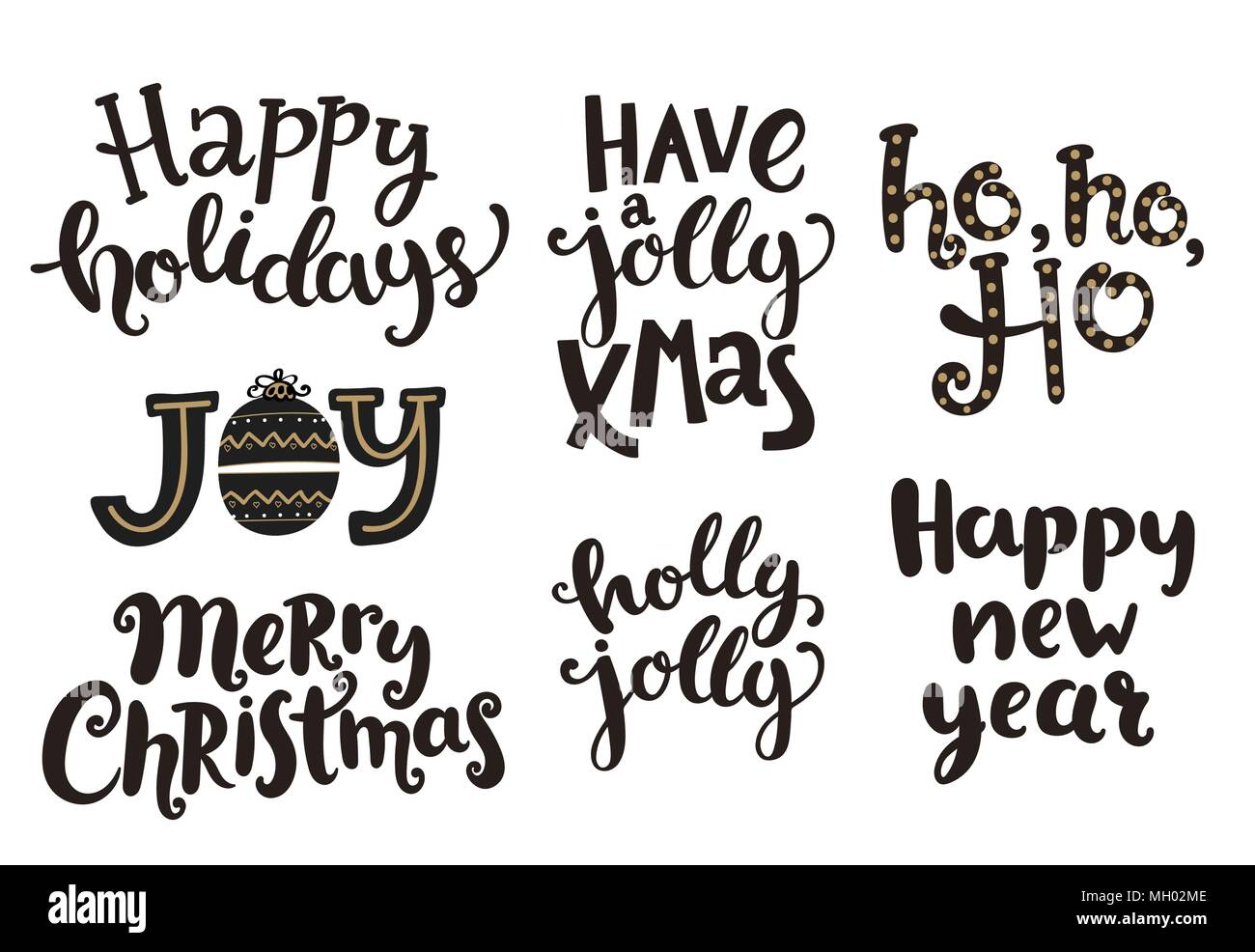 Holidays lettering phrases for New Year and Christmas. Vector ...