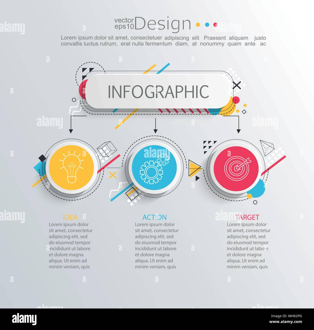 presentation business infographic template with 3 options and abstract geometric pattern vector illustration