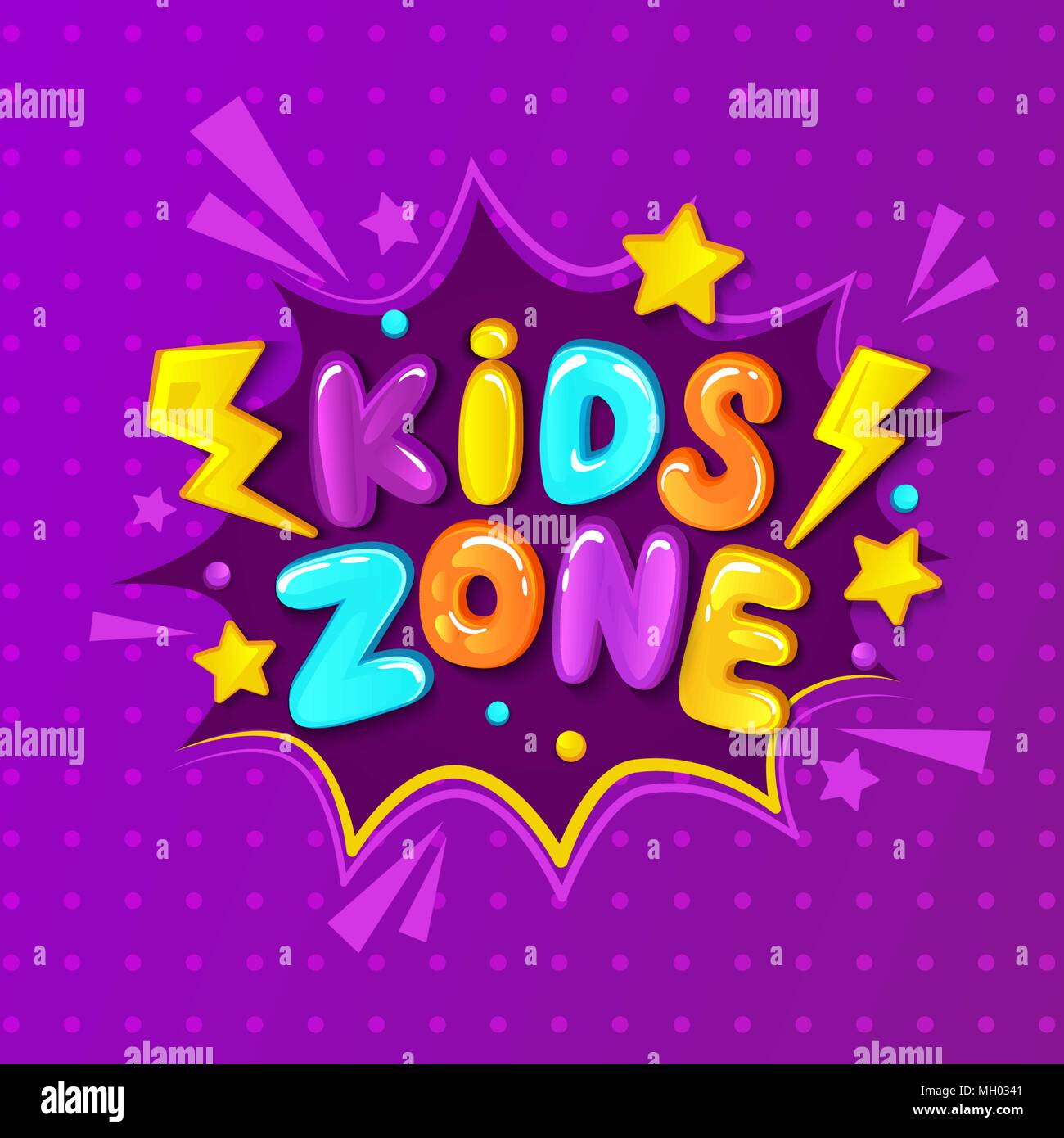 Kids zone banner, emblem or logo in cartoon style. Place for fun and ...