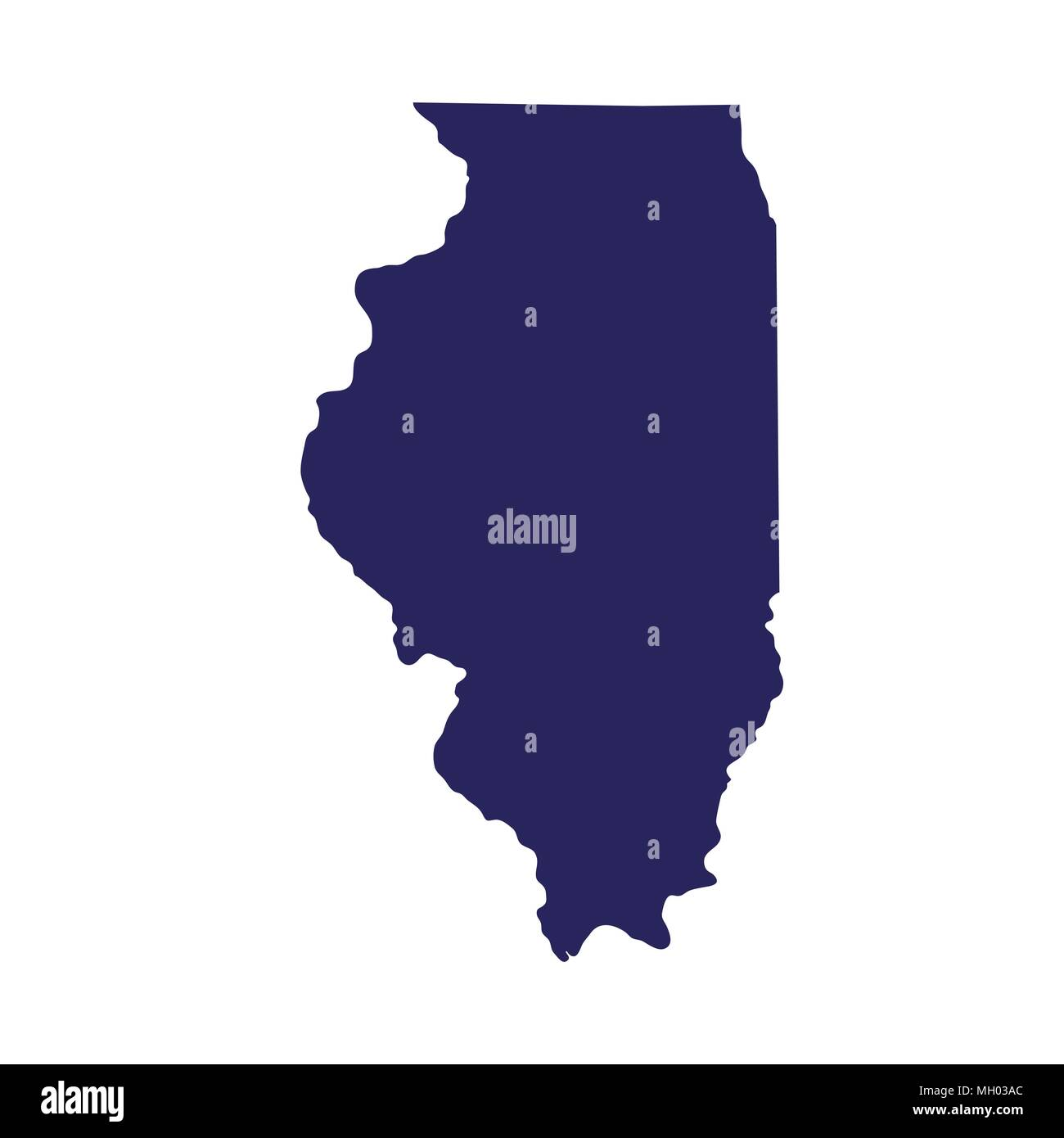 map of the U.S. state of Illinois  - Stock Vector