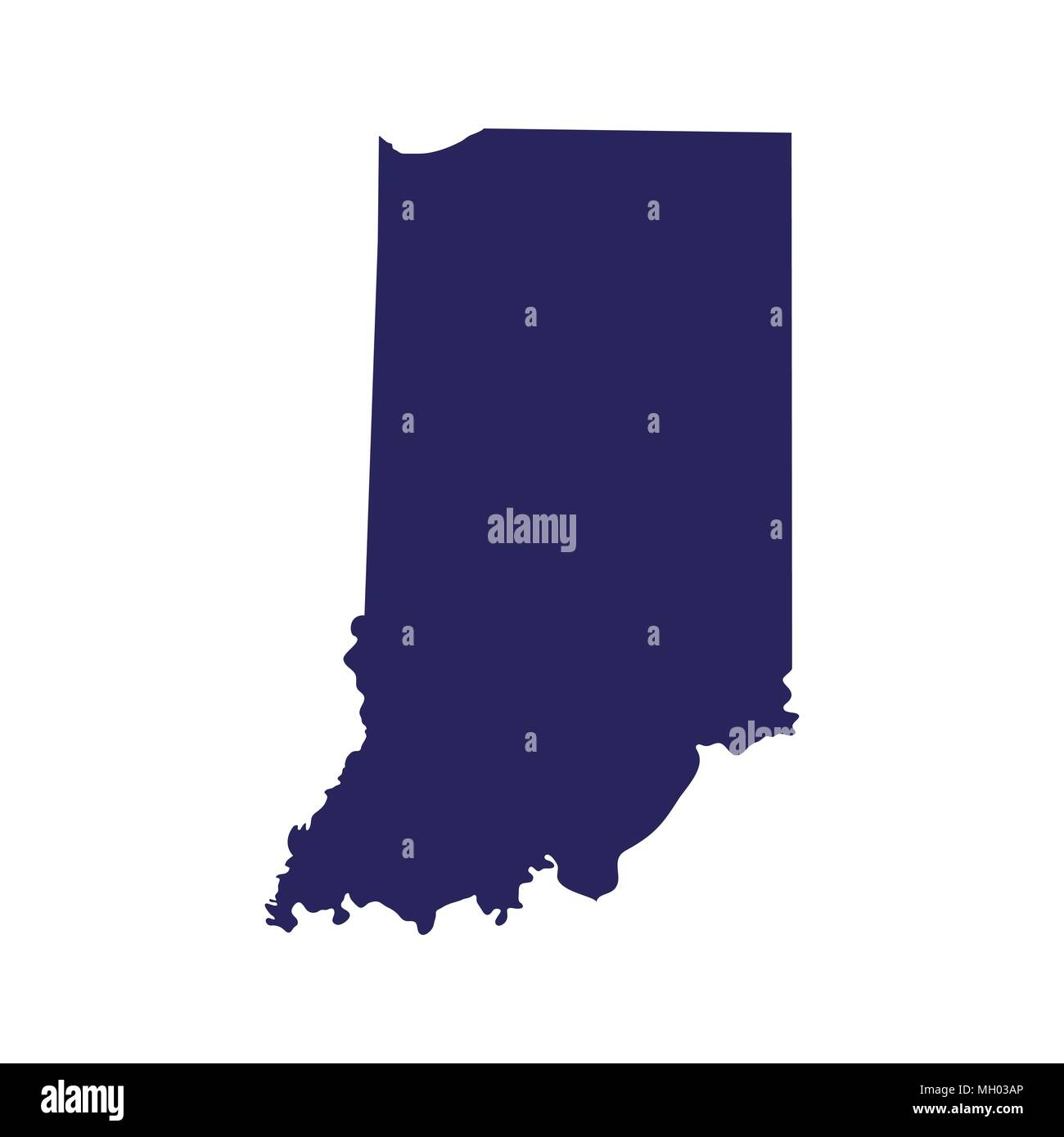 map of the US state of Indiana