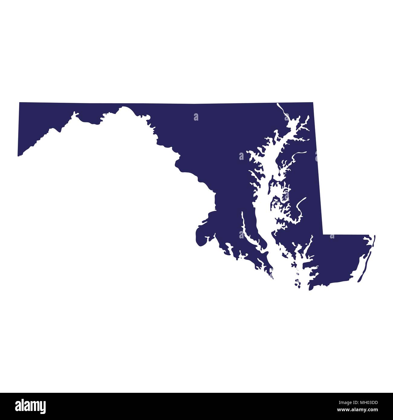 map of the U.S. state of Maryland  - Stock Vector