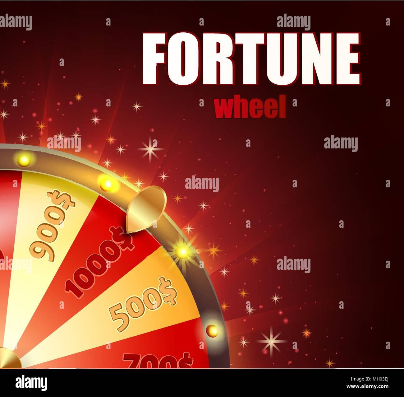 Symbol of spinning fortune wheel in realistic style. Shiny lucky roulette for your design on red glowing background with place for your text. Vector illustration. - Stock Vector
