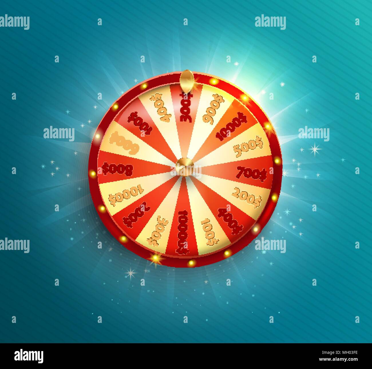 Symbol of spinning fortune wheel in realistic style. Shiny lucky roulette for your design on blue glowing background. Vector illustration. - Stock Vector