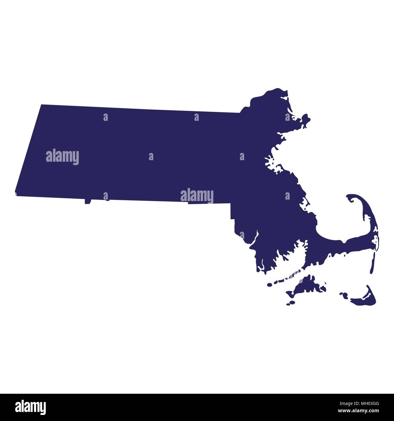 map of the U.S. state  Massachusetts  - Stock Vector