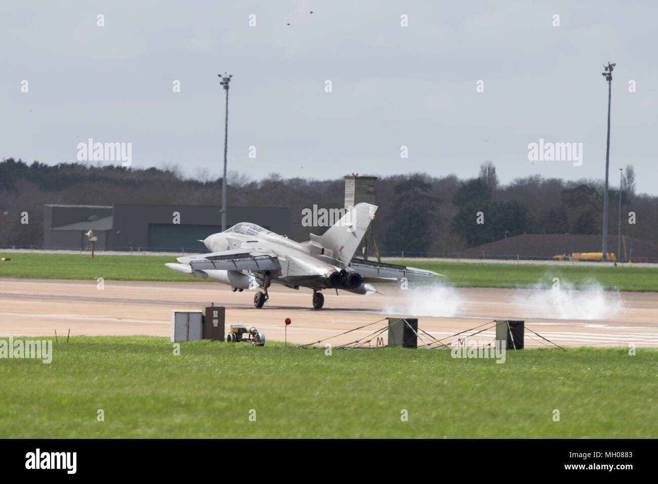 Tornado Jets at RAF Marham in Norfolk on Monday afternoon (April 16th)   back training after the successful bombing raids in Syria at the weekend.  Britain's Tornado jets were spotted training at an airfield in Norfolk today (Mon) after carrying out successful bombing raids in Syria at the weekend.  The fighter planes were seen taking off and landing at RAF Marham as they carried out sorties over the North Sea.  Engineers were also seen checking over the jets as Theresa May is set to face MP's questions this afternoon about her decision to authorise the air strikes.  Opposition parties say MPs Stock Photo