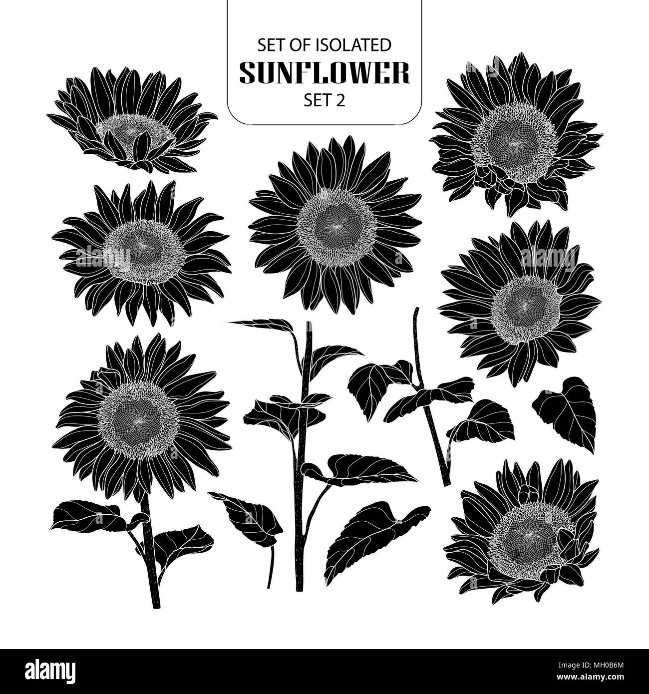 Set of isolated silhouette sunflower set 2. Cute hand ...