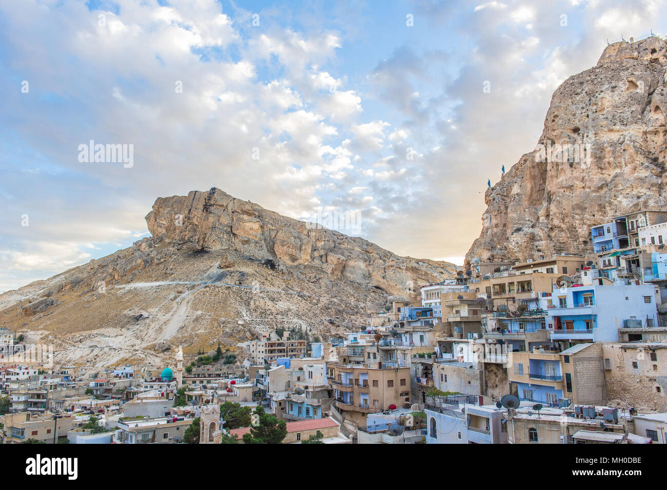 Ma'loula or Maaloula, a village in the Rif Dimashq Governorate in Syria. It's built into the rugged mountainside, at an altitude of more than 1500 met Stock Photo