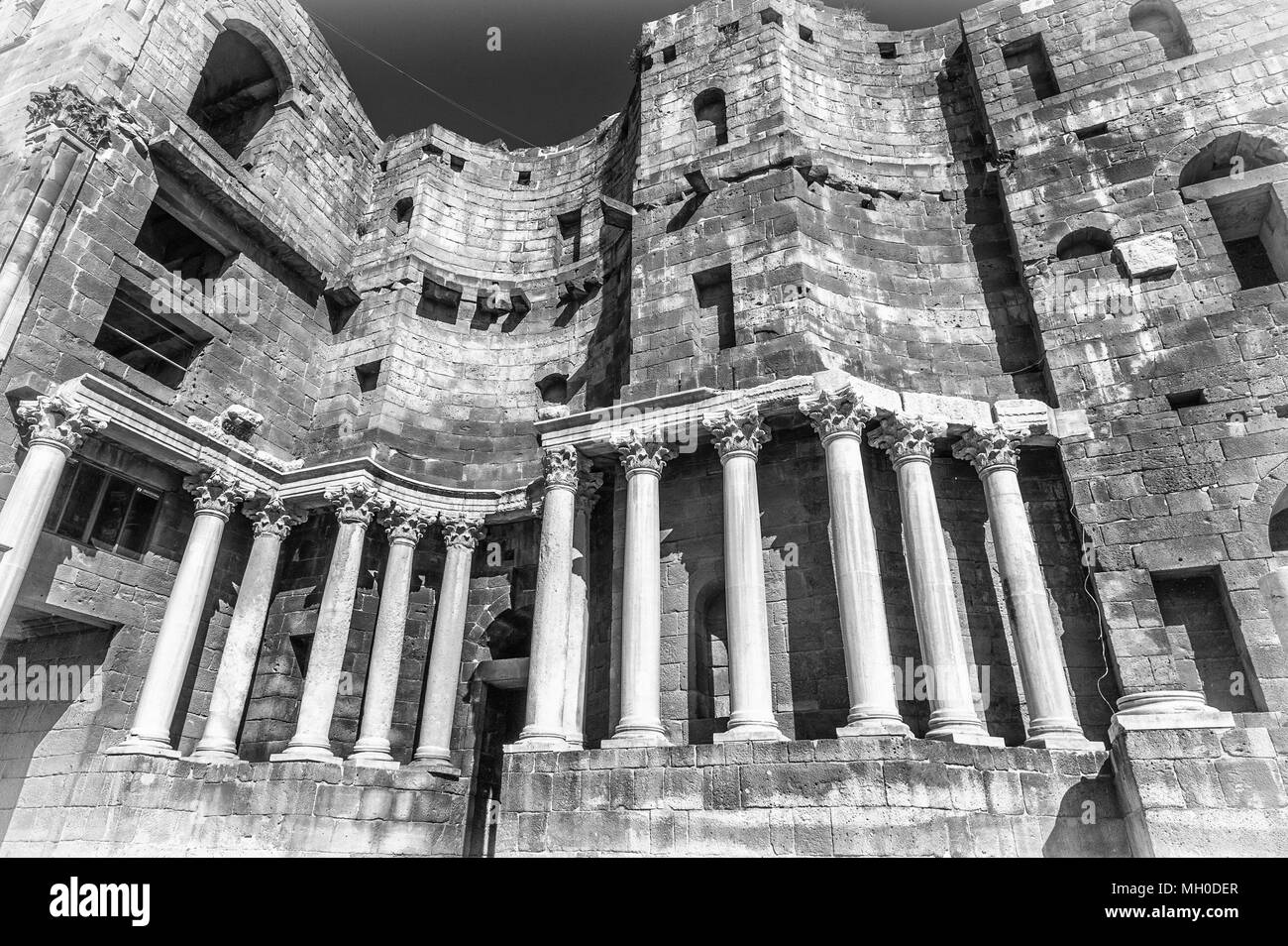 Roman Theatre In Black And White At Bosra An Ancient