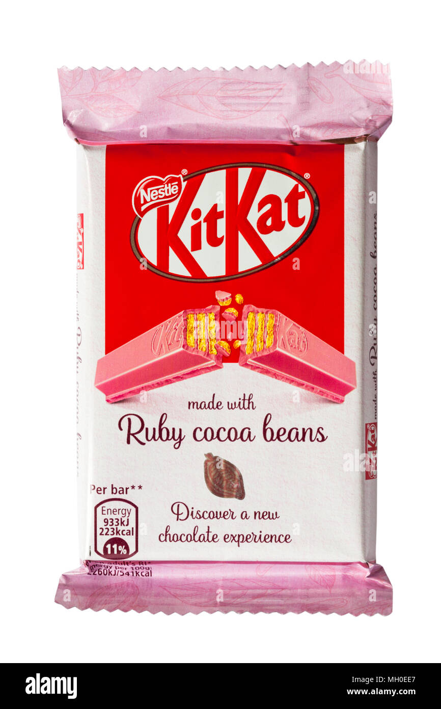 Bar of Kitkat Kit-Kat Kit Kat made with ruby cocoa beans isolated on white background - discover a new chocolate experience - Stock Image