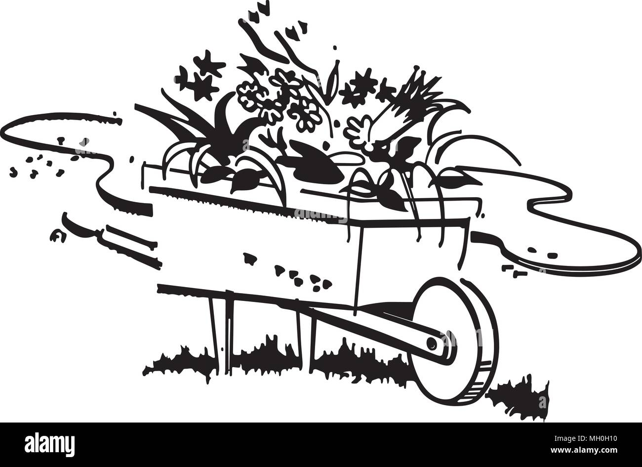 Wheelbarrow Full Of Flowers - Retro Clipart Illustration Stock Vector
