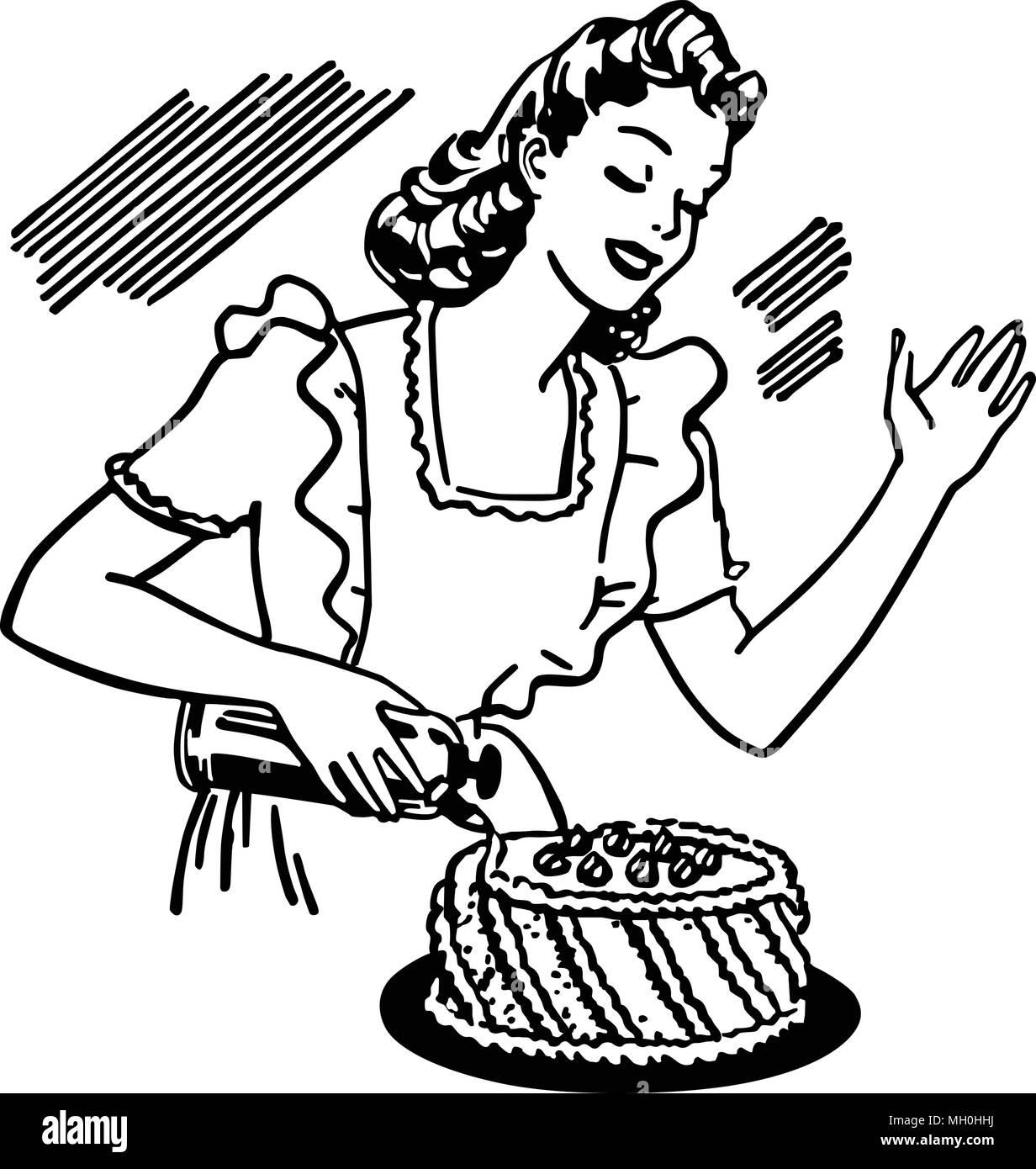 Woman Decorating Cake - Retro Clipart Illustration - Stock Vector