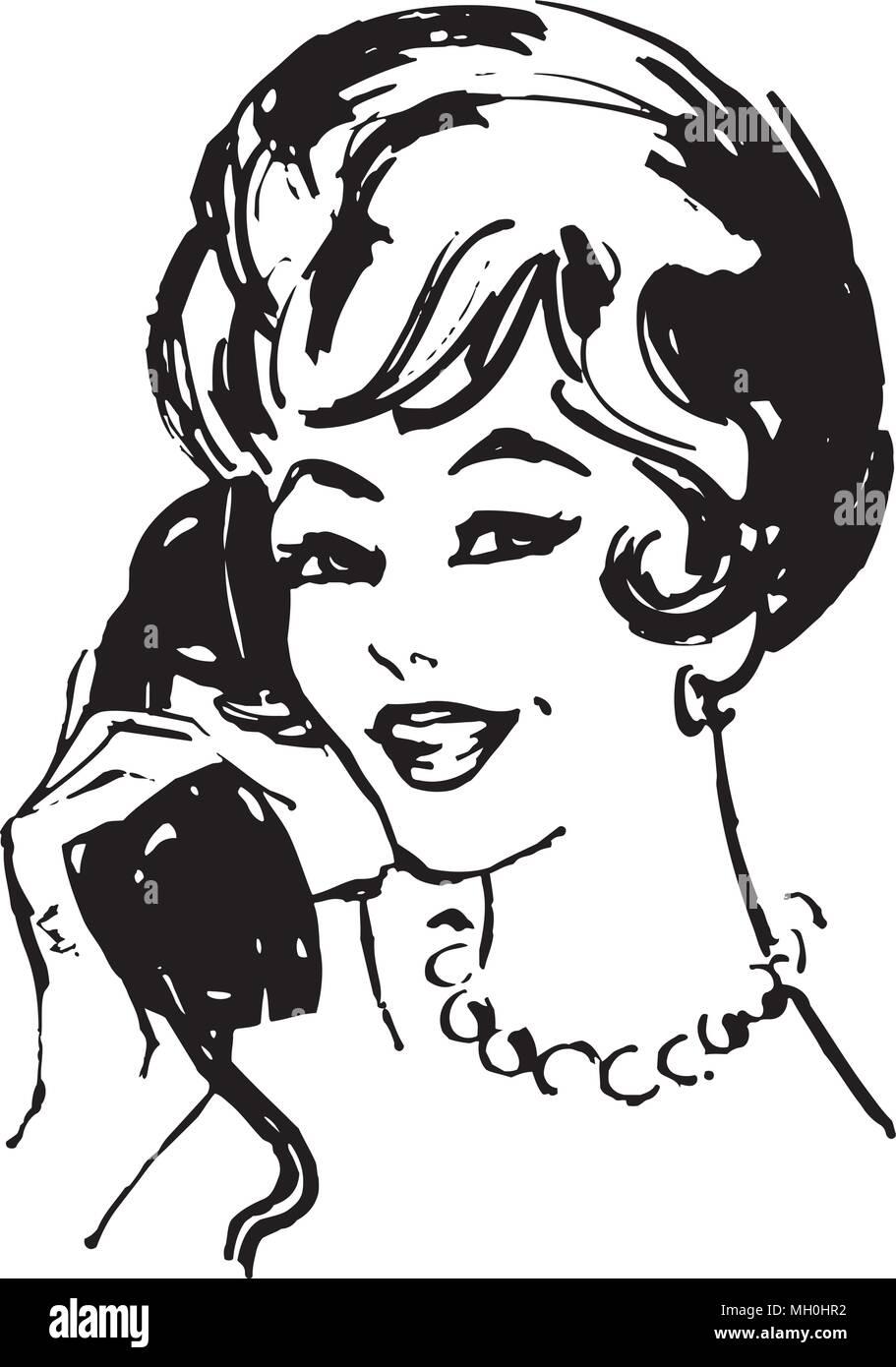 Woman On The Phone - Retro Clipart Illustration Stock ...