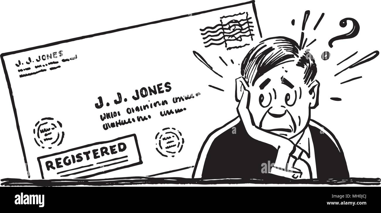 Worried Man With Letter - Retro Clipart Illustration - Stock Image