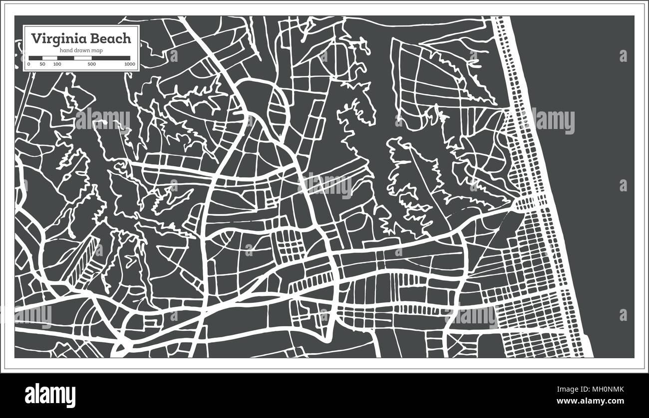 Virginia Beach USA City Map in Retro